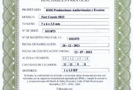 certificado pipa hinchable rsm